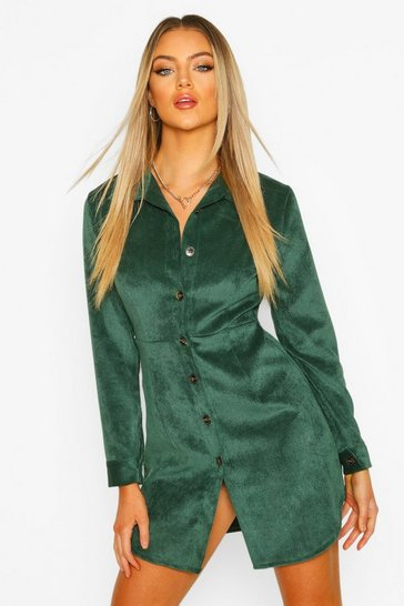 Womens Forest Cord Fitted Shirt Dress