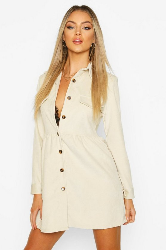 Womens Stone Cord Shirt Dress