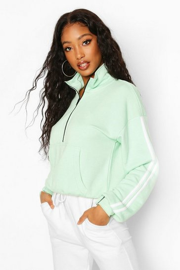 Mint Side Stripe Half Zip Sweat