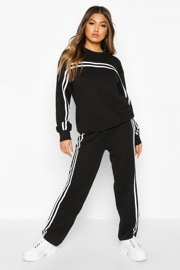 Black Double Stripe Sweater Tracksuit