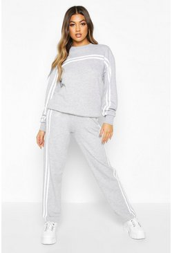 Grey Double Stripe Sweater Tracksuit