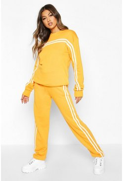 Orange Double Stripe Sweater Tracksuit