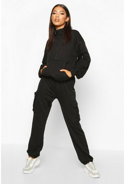 Womens Black Utility Pocket Joggers and Sweat Tracksuit