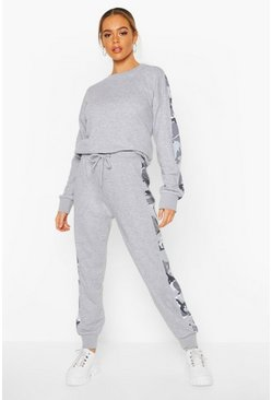 Grey Camo Side Stripe Sweater Tracksuit