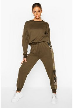 Khaki Camo Side Stripe Sweater Tracksuit