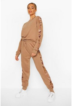 Sand Camo Side Stripe Sweater Tracksuit