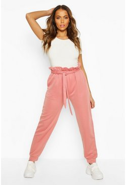 Dusky pink Paper Bag High Waist Loopback Jogger
