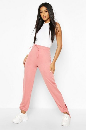 Dusky pink Tie Cuff Loopback Jogger