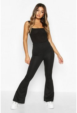 Womens Black High Waist Flare Loopback Jogger