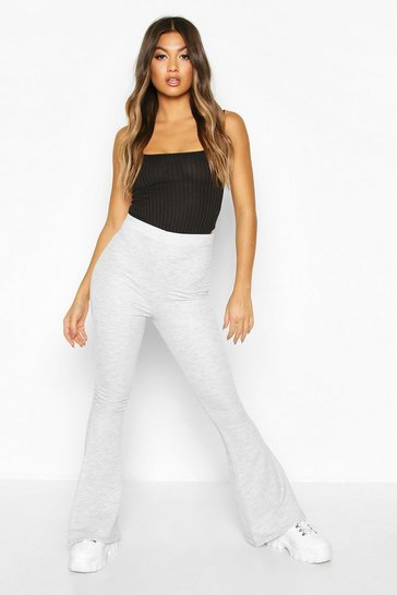 Womens Grey High Waist Flare Loopback Jogger