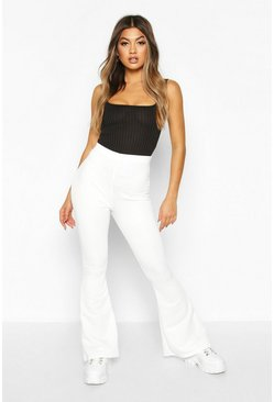 Womens Ivory High Waist Flare Loopback Jogger