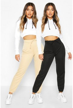 Womens Black 2 Pack Basic Loopback Jogger