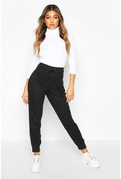 Womens Black Ribbed High Waist Loopback Jogger