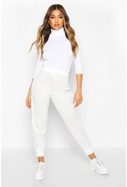 Womens Ivory Ribbed High Waist Loopback Jogger