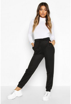Womens Black Basic High Waist Loopback Jogger