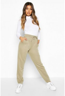 Khaki Basic High Waist Loopback Jogger