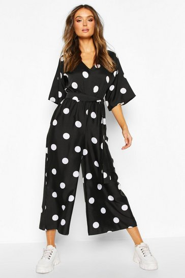 Womens Black Oversized Polka Dot Kimono Sleeve Culotte Jumpsuit