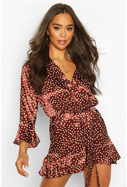 Chocolate Polka Dot Wrap Ruffle Hem Playsuit