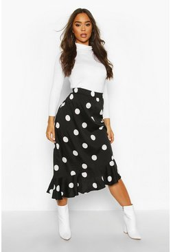 Oversized Polka Dot Ruffle Hem Skirt, Black