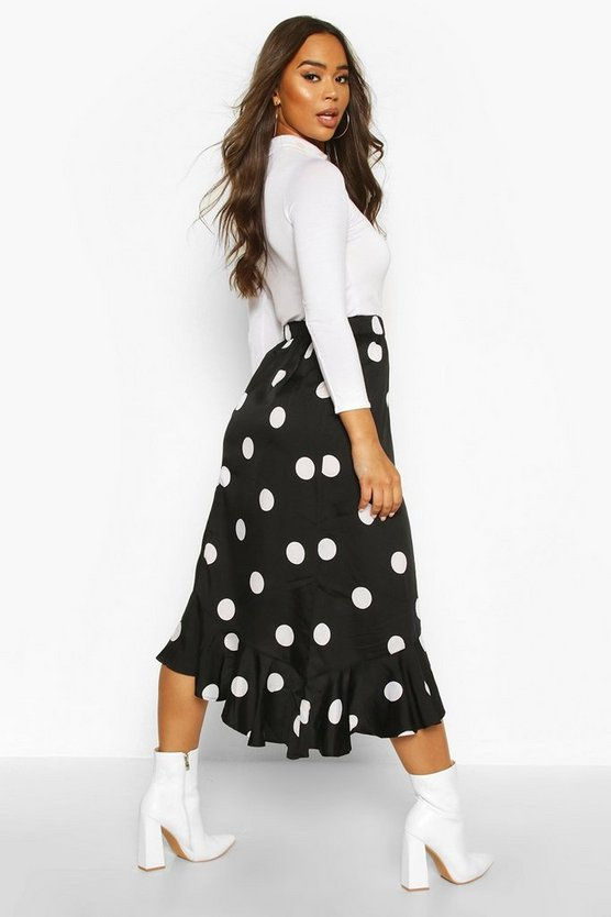 Oversized Polka Dot Ruffle Hem Skirt
