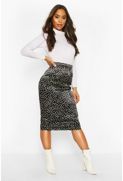 Black Polka Dot Midi Slip Skirt