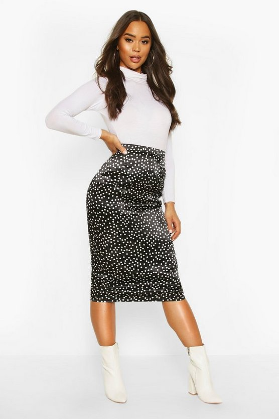 Polka Dot Midi Slip Skirt