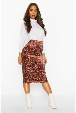Womens Chocolate Polka Dot Midi Slip Skirt