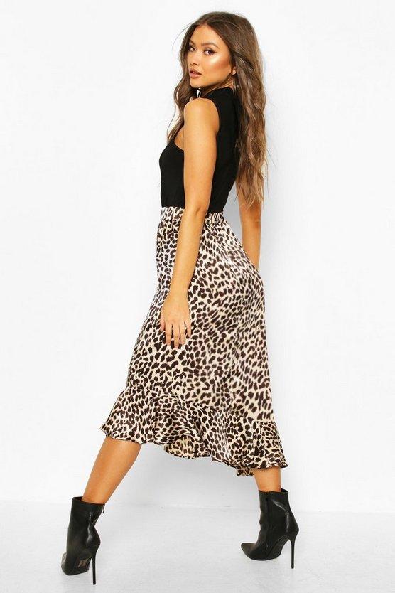 Leopard Print Ruffle Hem Skirt