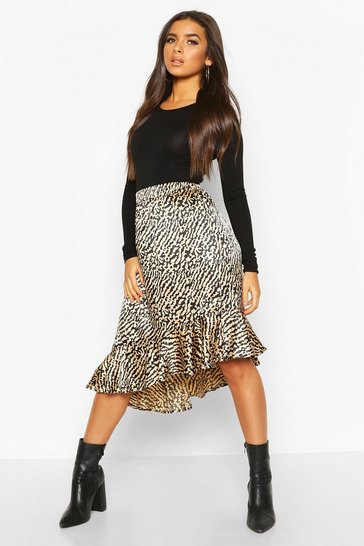 Camel Animal Print Ruffle Hem Skirt