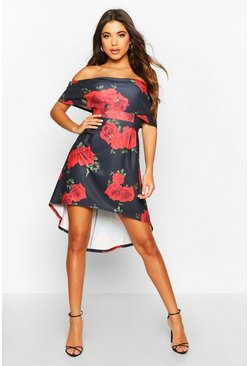 Black Off Shoulder Floral Print Skater Midi Dress