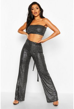 Womens Black Metallic Bandeau Wide Leg Trouser Co-ord
