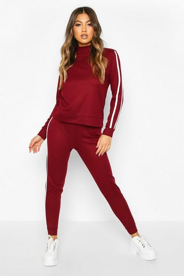 Womens Berry Rib Side Stripe Top And Jogger Co-ord