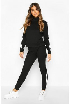 Black Rib Side Stripe Top And Jogger Co-ord