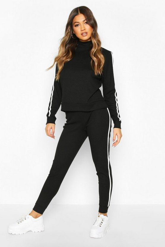 Rib Side Stripe Top And Jogger Co-ord