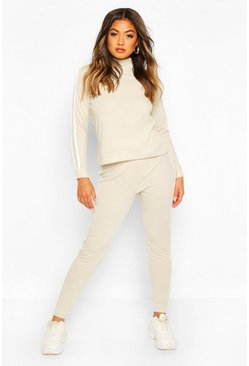 Rib Side Stripe Top And Jogger Co-ord, Stone