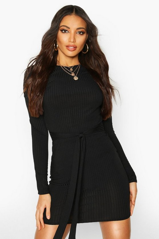 Womens Black Jumbo Ribbed Long Sleeve Tie Waist Mini Dress
