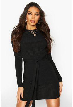 Black Jumbo Ribbed Long Sleeve Tie Waist Mini Dress