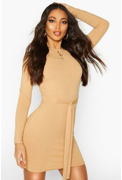 Camel Jumbo Ribbed Long Sleeve Tie Waist Mini Dress