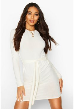 Jumbo Ribbed Long Sleeve Tie Waist Mini Dress, Ecru