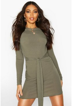 Womens Khaki Jumbo Ribbed Long Sleeve Tie Waist Mini Dress