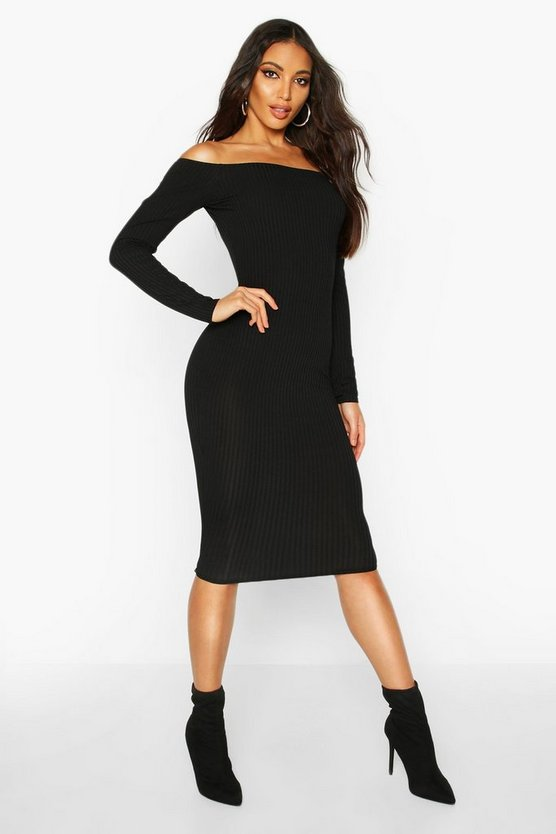Black Jumbo Ribbed Off The Shoulder Midi Dress