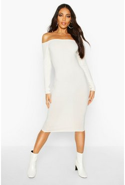 Womens Ecru Jumbo Ribbed Off The Shoulder Midi Dress