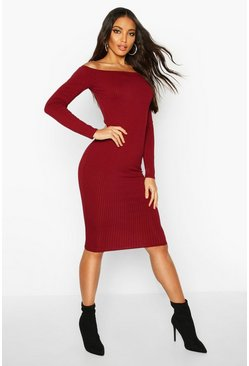 Womens Wine Jumbo Ribbed Off The Shoulder Midi Dress