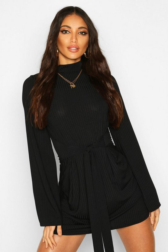 Black Jumbo Rib Flare Sleeve Tie Waist Skater Dress
