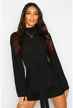 Womens Black Jumbo Rib Flare Sleeve Tie Waist Skater Dress