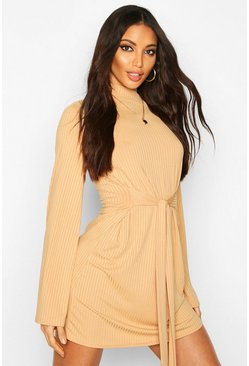 Womens Camel Jumbo Rib Flare Sleeve Tie Waist Skater Dress