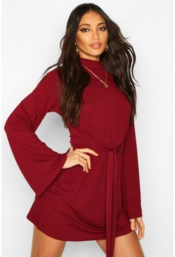 Womens Wine Jumbo Rib Flare Sleeve Tie Waist Skater Dress