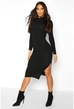 Womens Black Jumbo Rib Long Sleeve Split Side Midi Dress