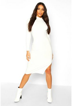 Ecru Jumbo Rib Long Sleeve Split Side Midi Dress
