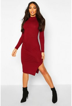 Womens Wine Jumbo Rib Long Sleeve Split Side Midi Dress